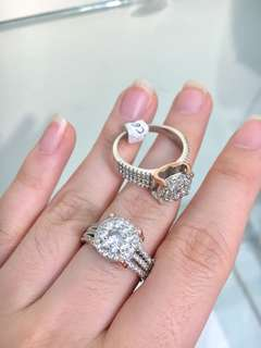 Cz Diamond Ring with Rosegold Engraved