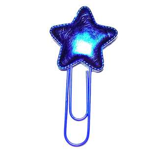 Handmade Electric Blue Star PU Bright Leather Cloth Large  Planner Clip Paper Clip Bookmark