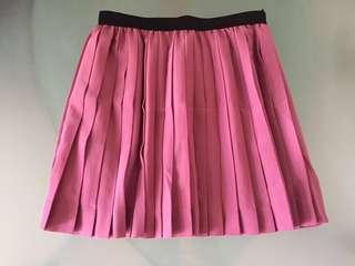 粉紅色雪紡百摺A字裙 Pink Skirt