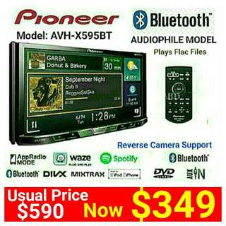 """Pioneer  AVH X595BT (Brand New)  7""""inch  Bluetooth Touchscreen DVD/CD/USB/FM Receiver with Spotify Ready & Supports Reverse Camera.  Usual Price: $590. Special price: $349 (Brand new in box & sealed)  whatsapp 85992490 to pick up ."""