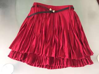 Earth Music & Ecology 紅色百摺A字裙 Red Skirt