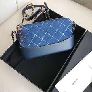 Chanel Double Zip Denim Crossbody Bag