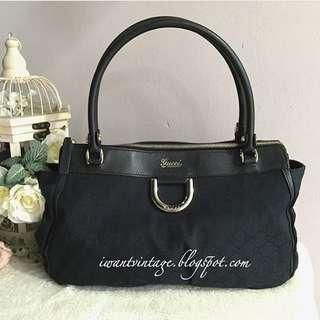 Gucci Denim Zip Top D Ring Abbey Bag-Black