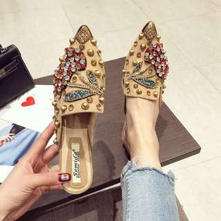 Baotou half slippers female 2018 spring new flat pointed rhinestone shoes slippers women wear no heel shoes