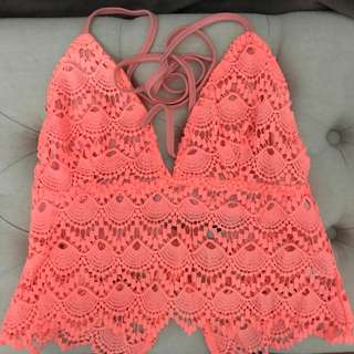 Pink crotchet crop top