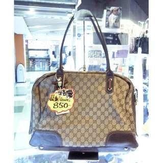 Gucci GG Logo Monogram Brown Canvas Shoulder Hand Bag Handbag 古馳 啡色 帆布 手挽袋 手袋 肩袋 袋