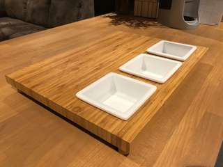 Wooden Serving Board with three square dip inserts