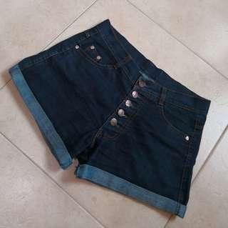 🌼blue denim high waisted buttoned up shorts