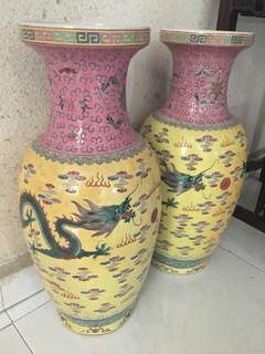 Dragon Porcelain Vases 景德镇双龙瓶