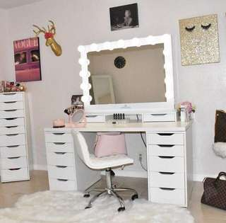 Vanity table, mirror and drawers
