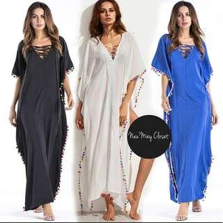 Boho Tassel Slit Maxi Long Dress