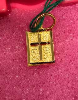 916 Gold Pendant - ❤️ Cross Design