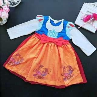 Disney  Dress Snow White Long Sleeve Dress Princess Dress Autumn Cotton110cm