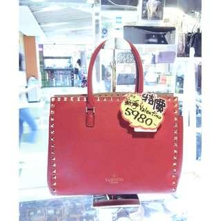 Valentino Red Leather Shoulder Hand Bag Handbag 華倫天奴 紅色 牛皮 皮革 手挽袋 手袋 肩袋 袋