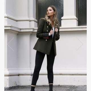 Madison square buckingham coat khaki size S