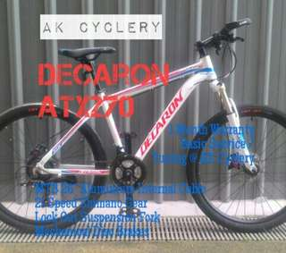"MTB 26"" DECARON ATX270 Aluminium Internal Cable 21 Speed Shimano Gear Lock Out Suspension Fork Mechanical Disc Brakes"