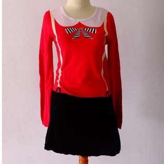 dress knit bangkok hongkong merah hitam pita