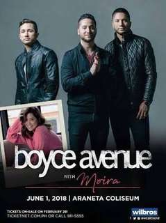 Boyce Avenue with Moira Ticket (Araneta Coliseum)