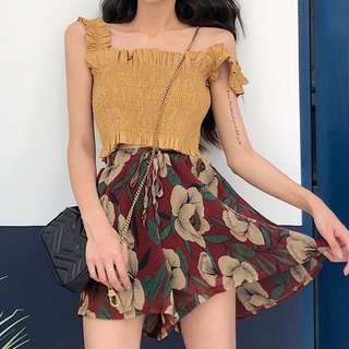 [PO] Pleated High Waist Floral Shorts