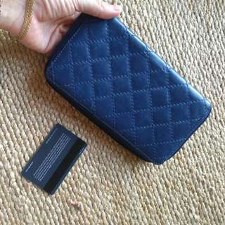 Real leather wallet blue