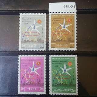 [lapyip1230] 葡萄牙殖民地票集(包括澳門) 1958年 原子能會議 新票4套 MNH