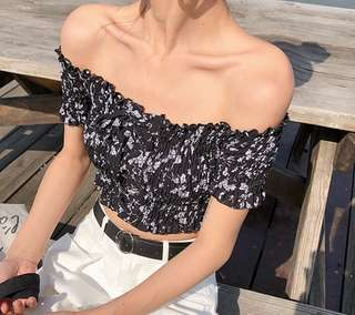 [PO] Floral Off Shoulder Smoked Lace-Up Top
