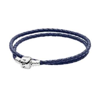 Pandora Dark Blue Woven Leather Bracelet (Double) - Size 38cm