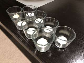 8x Tealight Candle Glass Holders