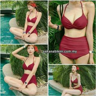 Maroon push up 2 pcs high waist bikini