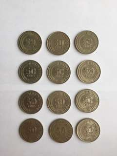 Singapore 1st Series Coins (12 Pcs)