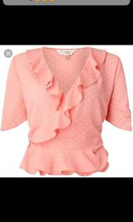 Miss Selfridge Pink Ruffled Top