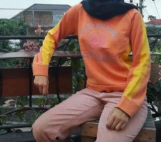 Orange Yellow Hoodie Crop Sweater Sweatshirt Mustard Oren Crewneck