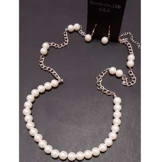 New with Tag Women Pearl Necklace c/w Pearl Earring set
