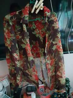 Sheer see through free size ladies floral blouse top only 1.80