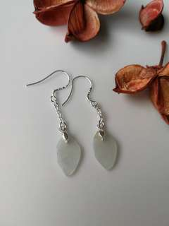 $18 Fixed Sales Type A Natural Jadeite Jade 925 Silver Earring
