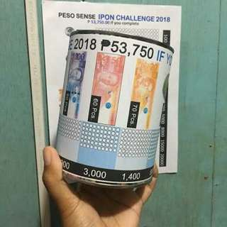 Peso sense IPON CHALLENGE coin tin can bank