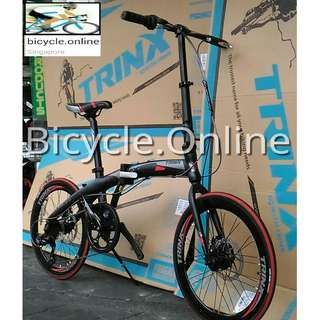 """Trinx Dolphin : Aluminum 20"""" Foldable Road Bike ✩ Shimano 7 Speeds ✩ Light weight and compact. ★ Fit nicely into your car boot! ★ officially allowed on Bus√ and MRT√ ✩ Brand New Bicycle"""