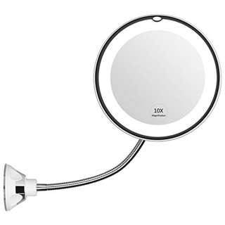 """58. KEDSUM Flexible Gooseneck 6.8"""" 10x Magnifying LED Lighted Makeup Mirror,Bathroom Vanity Mirror with Strong Suction Cup, 360 Degree Swivel,Daylight,Battery Operated,Cordless & Compact Travel Mirror"""