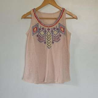 Embroidered Sleeveless Top