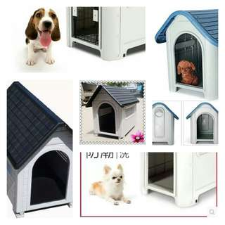 Pet Cage.  Plastic outdoor water proof dog kennel.  Grey color