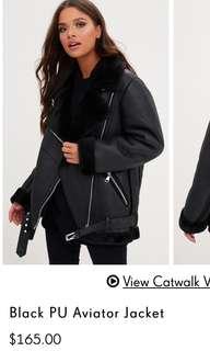 Black PU Leather Aviator Jacket.