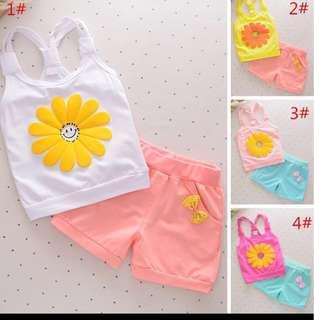 Sweet Helianthus Floral Vest Top & Shorts Set