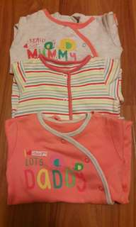 0-3m Mothercare Sleepsuits set of 3
