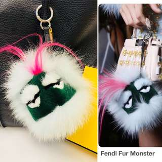 Fendi light blue fox fur monster charm