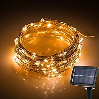 60. Solar Energy Powered LED Fairy String Lights Waterproof Starry  Copper Wire Ambiance Lighting for Outdoor Landscape Patio Garden Bedroom,Party,Wedding (Warm White)