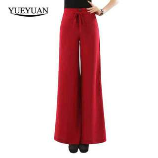 Plus size maroon red wide leg pants