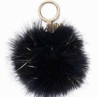 SALE Kate Spade Pom Pom Key Fob Keychain Pouf Black Glitter