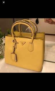 Prada Saffiano Cuir Double Tote Handbag