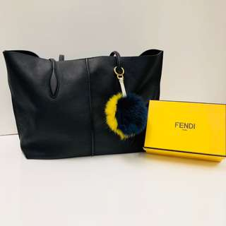 Fendi yellow and blue fox fur ball charm