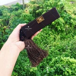 (SOLD)Chanel Vintage 玳瑁拼木流蘇辮 Clutch Bag